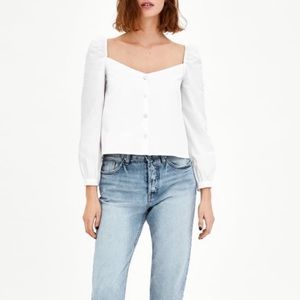 Zara White Poplin Top